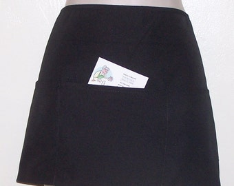 Black Waitress Half Apron Plain, **EMBROIDERED** see details. 9000