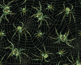 Glow-in-the-Dark Spiders 9174G-99 by Blank Quilting Cotton Fabric Yardage