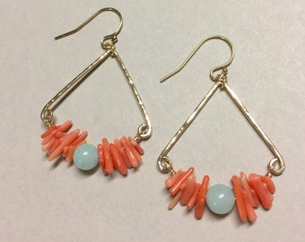 Coral and Amazonite Triangle Earrings