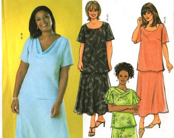 Uncut Women's TOP & SKIRT PATTERN Butterick #4143 Size 16-18-20 Pullover Top Shaped-Hem Skirt Loose-Fitting Easter Spring Dress Sewing