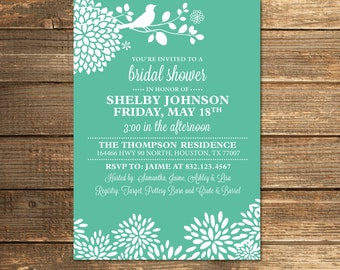Mint Green Bridal Shower Invitation, Bird, Floral, Modern, Mint to be, Wedding Shower, Mint Wedding, Printable Invitations
