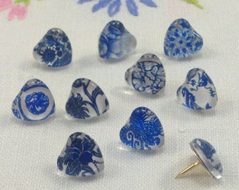 Decorative Push Pins, Blue Heart Push Pins, Thumbtacks, Cork Board Pins, Blue Heart Drawing Pins, Map Pins, Teachers Gift