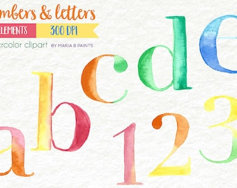 Alphabet clipart for teachers, watercolor letters, Numbers Clipart, abc clipart, Digital Letters, Alphabet letters, abc letters, numbers art