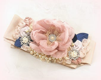 Wedding Bridal Sash Rose Blush, Navy Blue Champagne, Vintage Style Elegant Sash with Pearls and Flowers