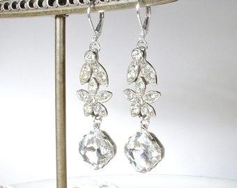 Vintage ORA Art Deco Pave Rhinestone Dangle Earrings, Silver Crystal Flower Drop Bridal Earrings, Vintage 1920 Wedding Jewelry 1940s 1950s
