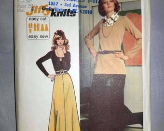 Vintage 1970s Pattern, UNCUT, Misses' Jiffy Knit Top Skirt and Pants, Simplicity 5306, Size 12, Bust 34, Waist 26.5