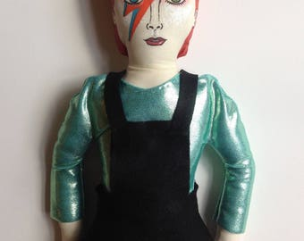 David Bowie doll/Ziggy Stardust/Handmade/Art doll/Painted/Collectible/Fabric doll/Gift/Retro/70s/Music/Life on Mars/Decoration/perfect gift.