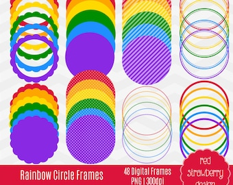 75% OFF Sale - Rainbow Circle Frames - 40 Digital Clip Art - Instant Download - PNG (CA115)