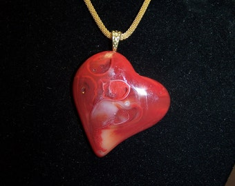 Red and White Swirl Heart Pendant