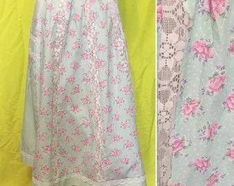 1970s Boho Floral & Lace Midi Skirt, L