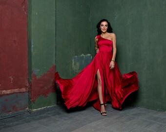 Evening Red Silk Dress