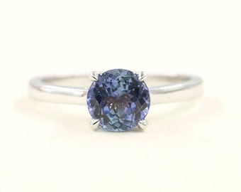 Tanzanite Engagement Ring/Solitaire Wedding Ring/14k White Gold Ring/Solitaire Engagement Ring/Simple Engagement Ring/7mm AAA Quality Ring