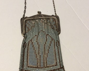 Whiting and Davis purse, vimesh purse, enamel purse, vintage purse