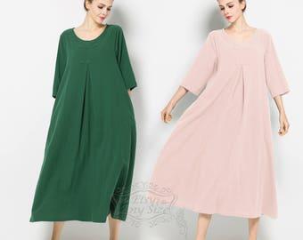 Anysize Perfect Summer soft linen&cotton loose dress plus size dress plus size clothing Spring Summer dress spring summer clothing F120A