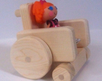 Wooden Toy, Natural Wood Mini Wheelchair, Special needs, Handmade toy, Handcrafted dollhouse accessory, Waldorf inspired, Jacobs Wooden Toys