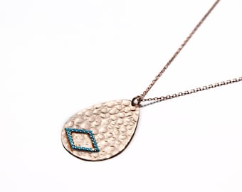 Handmade solid sterling silver 'Nina' hammered pendant necklace in rose gold plate.
