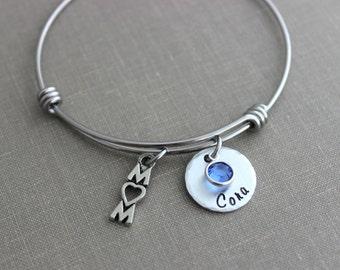 Mom bracelet, stainless steel wire bangle, Children's name bracelet Custom Hand stamped, Swarovski crystal birthstones mom heart word charm