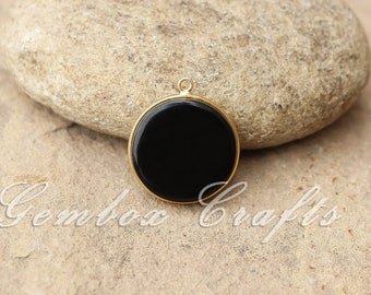 Black Onyx 12mm Round Both Side Flat Smooth 925 Sterling Silver Gold Plated Bezel Pendant