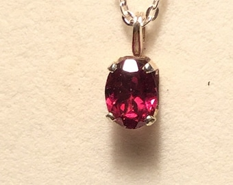 Rubellite Necklace.  Natural Rubellite Oval Pendant 8x6mm. with silver chain