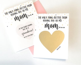 Pregnancy Reveal to Mom Scratch Off Card - Pregnancy Announcement  - Grandma - Grandmother - Only Thing Better Scratch Off Card - CONFETTI