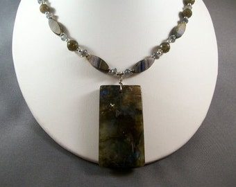 Mixed Labradorite, Czech Beads and Sterling Silver