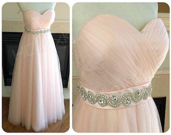 Blush wedding dress, Blush tulle gown, tulle wedding dress