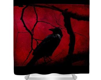 RED NIGHT CROW Raven Shower Curtain Surreal Fantasy Photo Art Print Dark Red Burgundy & Black Raven Crow Branches Bath Shower Curtain
