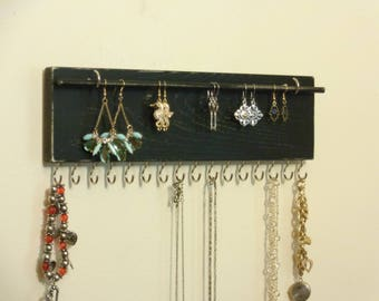 Jewelry Rack - Necklace Holder - Jewelry Organizer - Earring Holder - 16 Jewelry Hooks - Removabkle Rod - Many Color/ Finish Choices