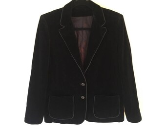 Black Velvet Blazer/ Piano Jacket/ Cropped Jacket/ Velvet Coat