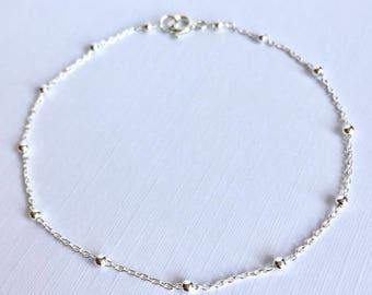 Sterling Silver Satellite Chain Bracelet, Layering Bracelet