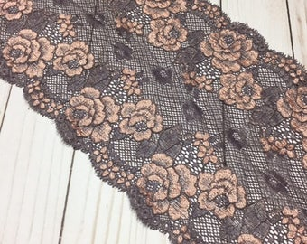 """COCOA & ORANGE Floral Stretch Lace 8.75"""" Wide Bra Lace, Underwear Lace, Galloon Lace, Lingerie Lace, Headband Lace, Hem Lace BTY By The Yard"""