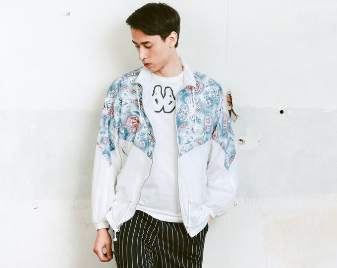 80s Shell Jacket . Mens Jacket Zip Up Windbreaker White 80s Jacket Sports Jacket Shell Jacket 80s Clothing . size Extra Large XL