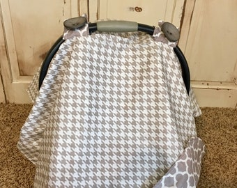 Gray Houndstooth Car Seat Canopy