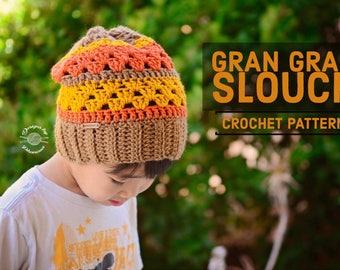 Crochet Gran Gran Slouch Beanie PATTERN | Crochet Pattern | Crochet Pattern | Crochet Hat | Instant Download Pattern