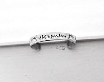 Wild & Precious Hand Stamped Cuff Bracelet   Hand Stamped Jewelry   Feather Jewelry   Poetry Jewelry   Poetry Bracelet   The Summer Day