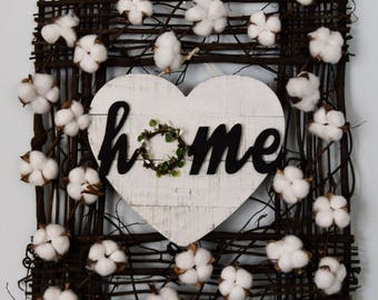 Farmhouse HOME Wall Hanging with Cotton Stems