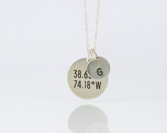 GPS Coordinates Disc & Initial Necklace, Sterling Silver, 14k Gold Fill, Latitude Longitude Necklace