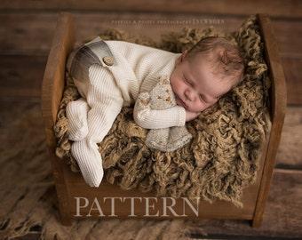 FOOTED ROMPER PATTERN -  Newborn Footed Long John Romper Sewing Pattern, Bear/Fin | Newborn Photography Prop Pattern