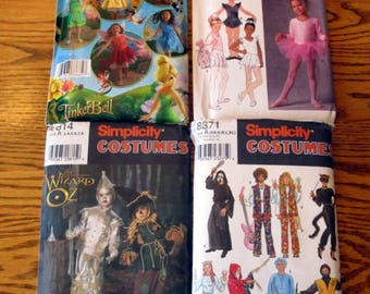 Simplicity Halloween Costumes, sizes 3 to 8 & XS to XL - UNCUT