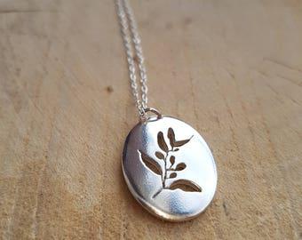 Silver Olive Necklace Pendant, Leaf Necklace, Olive Gift, Branch Necklace