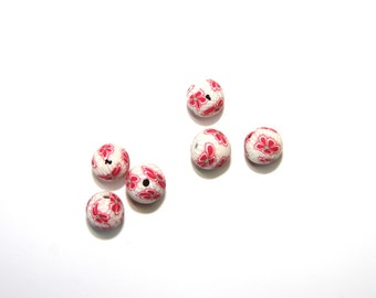 10 PCs Polymer Clay beads / Fimo beads / 8mm / floral pattern / color: white - red  KS24-8