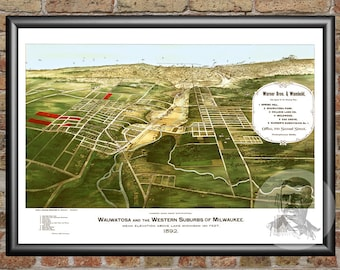 Wauwatosa, Wisconsin Art Print From 1892 - Digitally Restored Old Wauwatosa, WI Map Poster - Perfect For Fans Of Wisconsin History