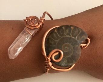 Adjustable ammonite cuff