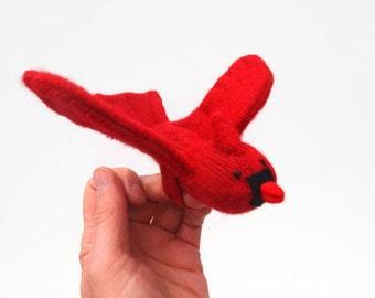 Cardinal, bird puppet, waldorf toy, all natural toy, eco friendly toy, red bird, Christmas bird, waldorf bird puppet