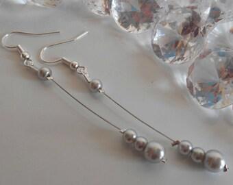 Earrings dangle wedding pearls Pearly gray