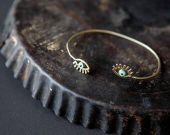 Cuff bracelet, evil eye bracelet with a touch of enamel - Bangle bracelet - protection bracelet - tiny evil eye bracelet
