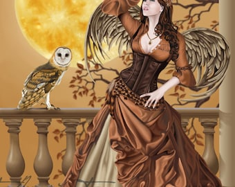 Owl Fairy Masquerade Hunter's Moon Autumn Fall Angel - Fantasy Fine Art Print