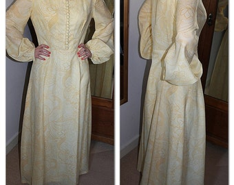 Vintage 1970s floral lemon yellow maxi dress with slight bell sleeves and front button detail