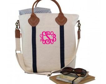 Weekender Monogram Flight Bag - Monogrammed Travel Tote - Leather Handle Travel Wekender - Monogram Canvas Tote - Messenger Bag Tote Bag