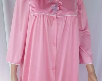 Vanity Fair Pink nylon/ nightgown robe with large flower print FREE SHIPPING!